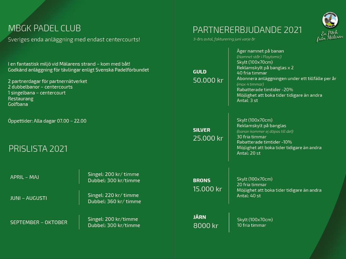 Padel club- sponsorpaket 2021